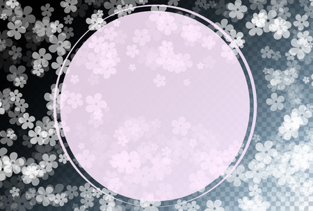 Gentle Scattered Sakura flowers on transparent background. Cherry flowers fall down.  イラスト・ベクター素材