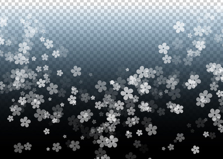 Gentle Scattered Sakura flowers on transparent background. Cherry flowers fall down. 일러스트