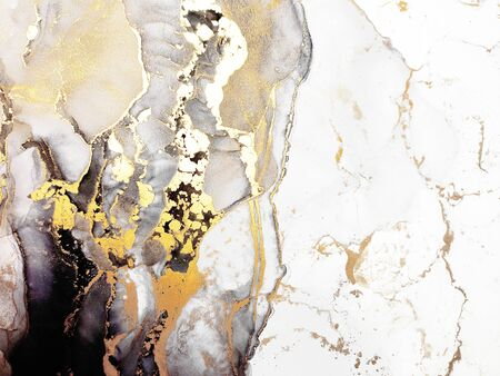 Alcohol Ink Art. White and Pale Splatter. Transparent clouds Sputter. Gold, White and Gray Ink Spray. Smoke Blots Aquarelle paint. Alcohol Ink Divorce. Background for Cards.