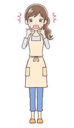 The lady who put on an apron. She's surprised.