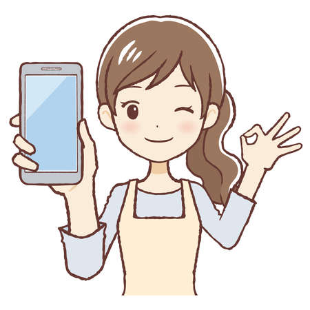 The lady who says Good with a cell phone. She wears an apron. The upper part of body. Stock fotó - 152464095