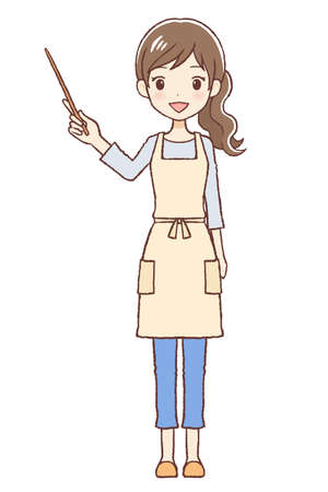The lady who put on an apron. I'm pointing and am explaining using a stick. The upper part of body.