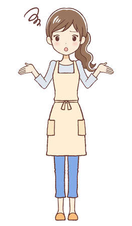 The lady who put on an apron. She's amazed. The upper part of body.