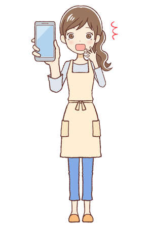 The lady who put on an apron. She's surprised to see a cellular phone. The upper part of body. 向量圖像