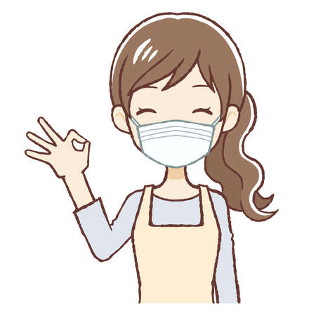 """The lady who put on an apron. A surgical mask is put on, and she's saying """"OK"""".The upper part of body."""