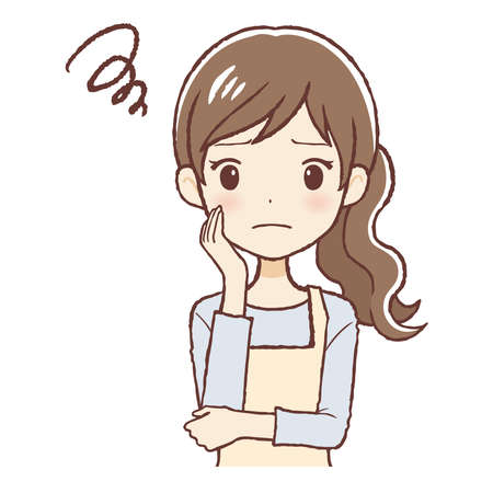 he lady who put on an apron. She's thinking. The upper part of body. 일러스트