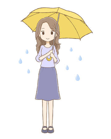 It is a woman who is holding an umbrella by raining.