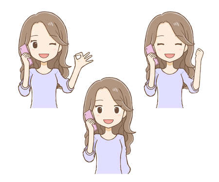 Long haired woman talking on mobile phone. There are three types: smile, OK sign, and guts pose. It is an illustration of the upper body. Vettoriali