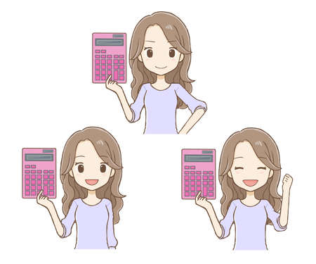 Woman with long hair with calculator 3 types of poses (upper body)