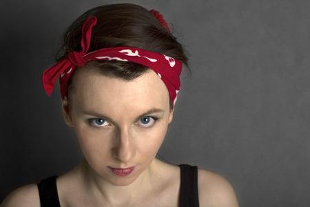 Pin up woman with bandana photo