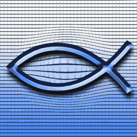Christianity fish symbol 3d background Stock Vector - 26319000