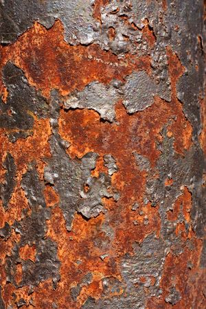 oxidized: A close-up showing the texture of a severely oxidized metal surface.