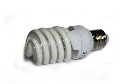 lumen: Compact fluorescent efficient power saving light bulb isolated on white