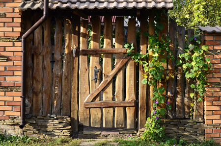 Autumn wooden old fence with a wicket in vintage style