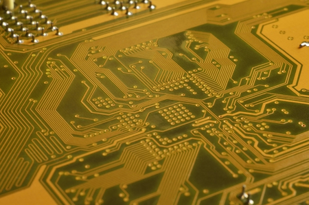 Close up of circuit board. Abstract technology background