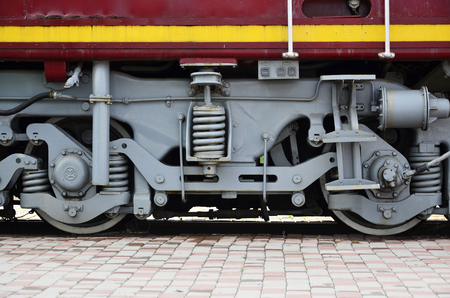 Wheels of a Russian modern locomotive, view from side 写真素材