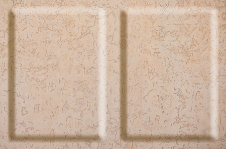 steadfast: Texture concrete wall with relief inserts. Preparation for graphs, tables or stand decoration. Plain beige smooth surface texture with volumetric grooves with copy space
