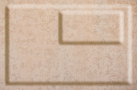 Texture concrete wall with relief inserts. Preparation for graphs, tables or stand decoration. Plain beige smooth surface texture with volumetric grooves with copy space
