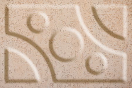grooves: Texture concrete wall with relief inserts. Preparation for graphs, tables or stand decoration. Plain beige smooth surface texture with volumetric grooves with copy space