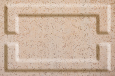 decoracion mesas: Texture concrete wall with relief inserts. Preparation for graphs, tables or stand decoration. Plain beige smooth surface texture with volumetric grooves with copy space