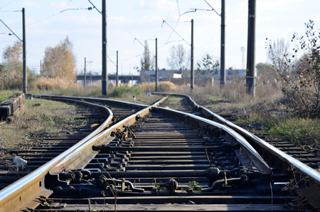complicated journey: Railway landscape of free and empty railway lines. Detailed picture of rails and sleepers Stock Photo
