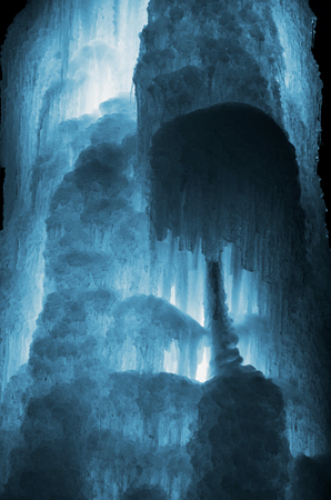 Huge ice icicles. Large blocks of ice frozen waterfall or water. Blue ice background. Frozen stream waterfall Stock Photo