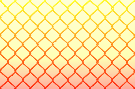 Texture of an old and rusty metal mesh on a neutral colored background. A sad and gloomy image with a flat fencing net used in prisons or industrial plants