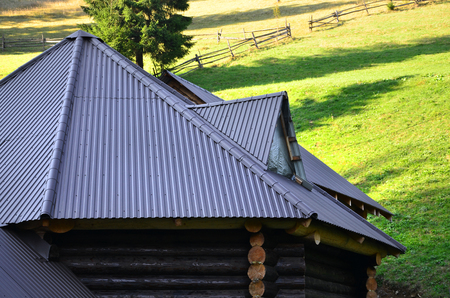 The roof is made of gray embossed metal sheets. Wooden house in the summer field Banco de Imagens
