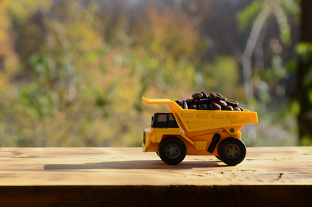 A small yellow toy truck is loaded with brown coffee beans. A car on a wooden surface against a background of autumn forest. Extraction and transportation of coffee