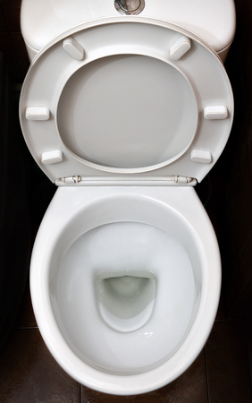 A photograph of a white ceramic toilet bowl in the dressing room or bathroom. Ceramic sanitary ware for correction of need