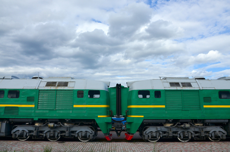 Transition between two electric trains. A small corridor in the role of a portal between the two sides of the cabin of a Russian electric train