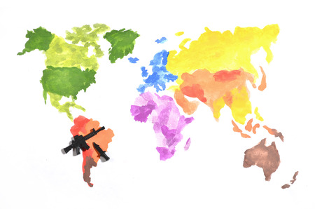 The world map is made with colored watercolor paints on white paper with the participation of a black toy gun and a knife.