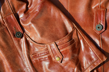 Brown leather texture. Useful as background for any design work. Stock Photo