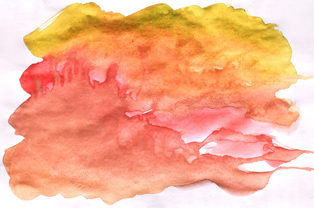 Watercolor wet background. Yellow, orange and red colors. Watercolor abstract background. Hand painted aquarelle background. Watercolor wash. Abstract painting Stock Photo