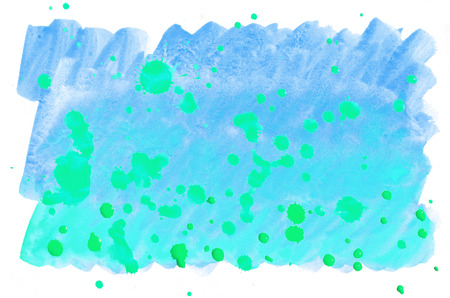 Colorful blue green turquoise watercolor wet brush paint liquid background for wallpaper, card. Aquarelle bright color abstract hand drawn paper texture backdrop vivid element for web, print