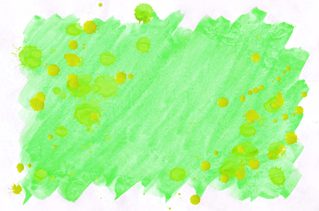 Colorful green and yellow watercolor wet brush paint liquid background for wallpaper. Aquarelle bright color abstract hand drawn paper texture backdrop vivid element for web, print