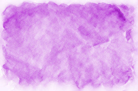 Watercolor abstract image for background design of any rectangular documents of standard proportions. Composition of bright watercolor spots of purple color