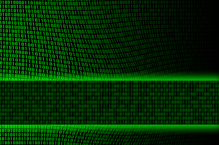 An image of a corrupted and distorted binary code made up of a set of green digits on a black background. Copy space