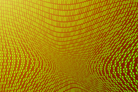 An image of a corrupted and distorted binary code made up of a set of green digits on a black background. Toned