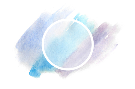 Abstract background illustration in the form of three watercolor strokes, executed in cold blue and purple tones with a round frame for text Stock Photo