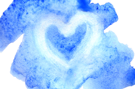 Watercolor illustration in the form of a wet color stroke, inside which is a painted heart