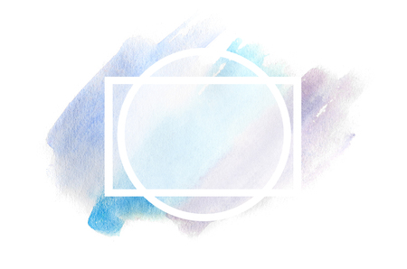 Abstract background illustration in the form of three watercolor strokes, executed in cold blue and purple tones with a square frame for text Stock Photo