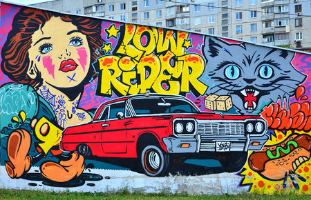 A detailed image of graffiti drawing. Conceptual street art background with cartoon characters, a retro girl, an evil cat muzzle, letter graffiti, hot dog, dice and a red lowrider car
