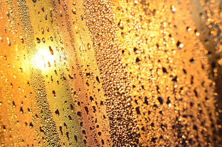 The texture of misted glass with a lot of drops and drips of condensation against the sunlight at dawn. Background image