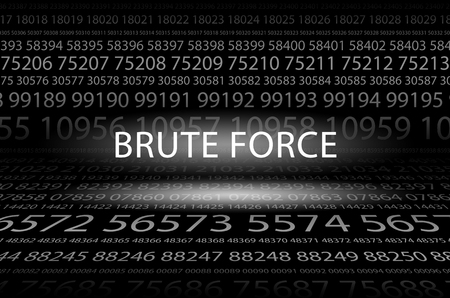 Abstract background image of black space from a set of rows of five-digit white numbers of different sizes and a luminous inscription in the center. Brute Force Stock Photo
