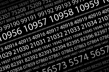 Abstract background image of a set of consecutive five-digit white numbers of different sizes on a black background in a diagonal direction. The concept of brute force for cracking passwords