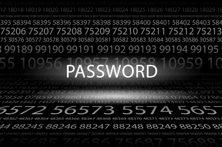Abstract background image of black space from a set of rows of five-digit white numbers of different sizes and a luminous inscription in the center. Password Imagens