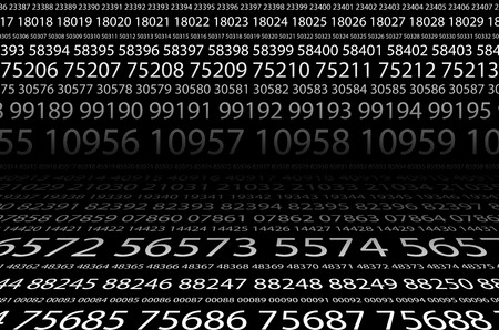 Abstract background image of black space from a set of rows of five-digit white numbers of different sizes. The concept of brute force for cracking passwords