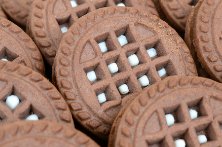 Detailed picture of dark brown round sandwich cookies with coconut filling close up. Background image of several treats for tea