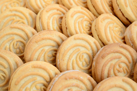 Close-up of a large number of round cookies with coconut filling Banco de Imagens